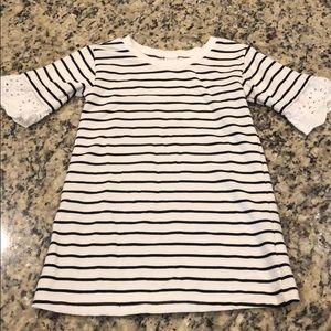 Striped Dress with eyelet bell sleeve